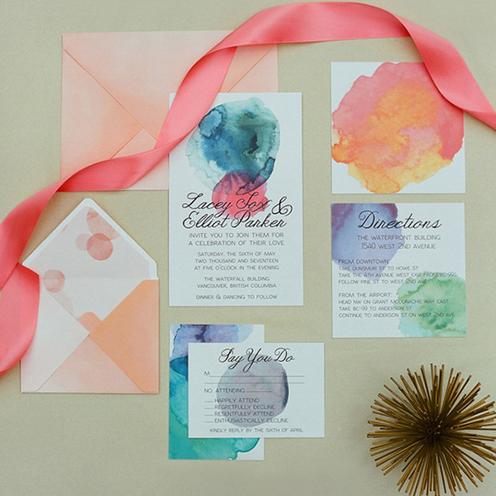 Watercolour wedding invitation suite