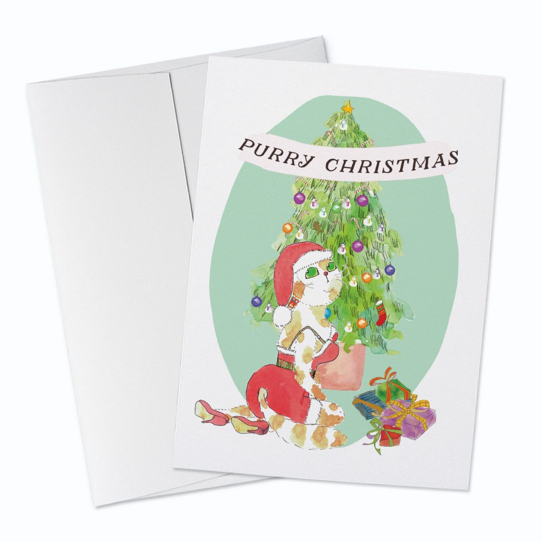Purry Christmas Greeting Card