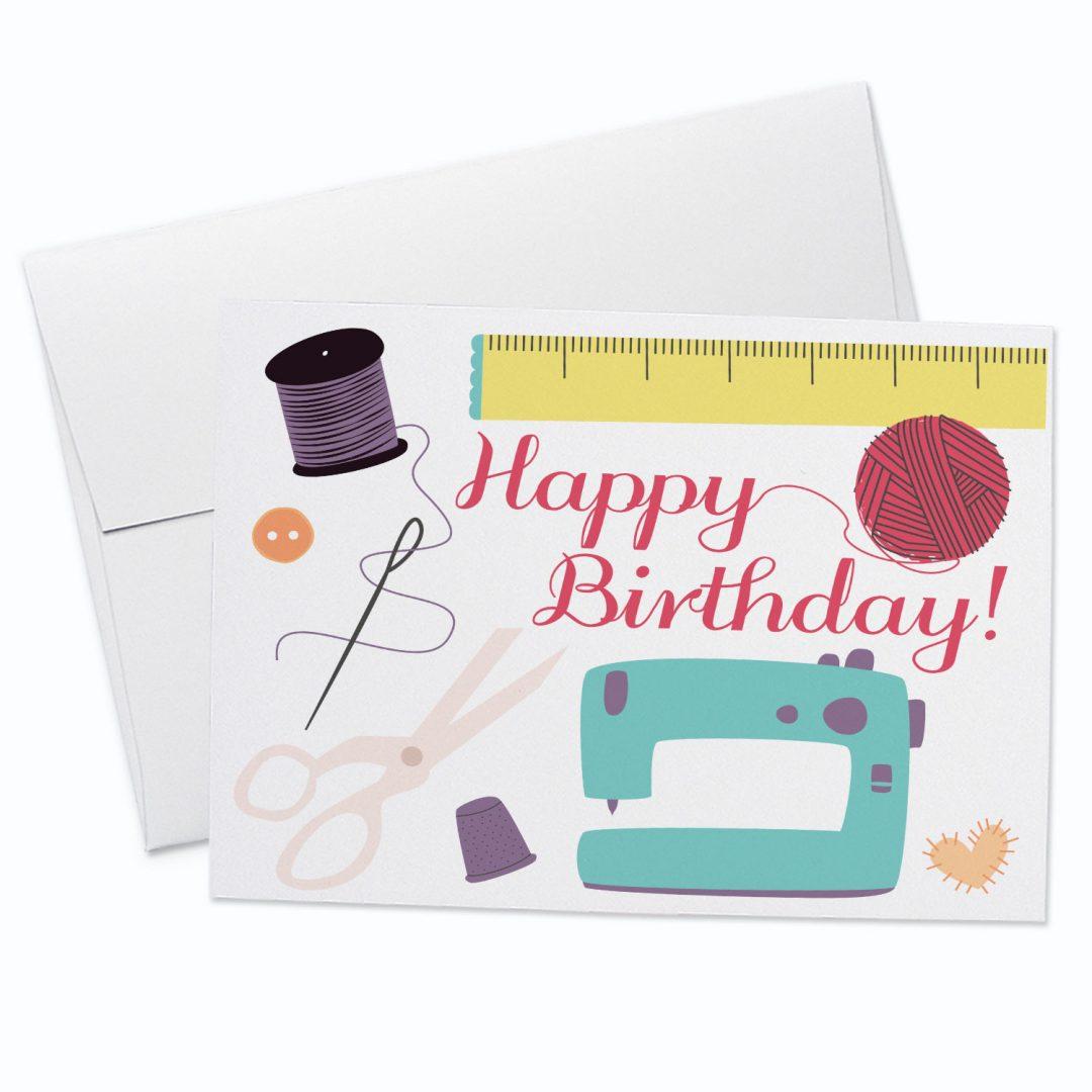 Sew Happy Birthday Greeting Card