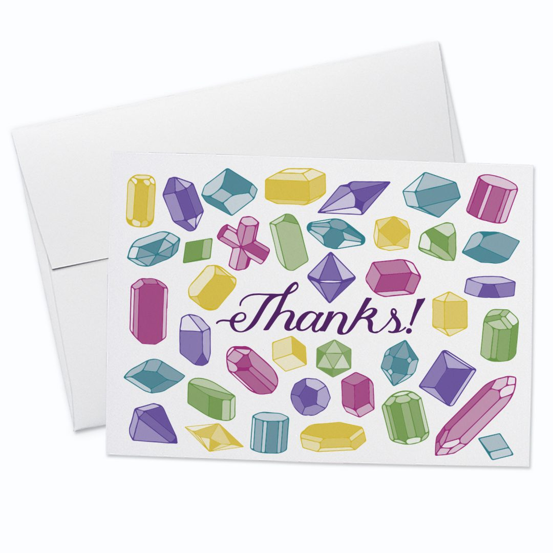 Thanks Gemstones Greeting Card